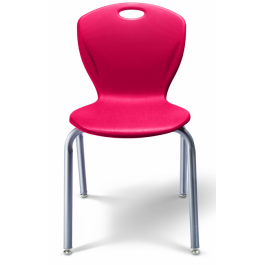 Stapelstuhl mit Vier-Fuß-Gestell abgebildet Modell D10A, Sitzschale Rubinrot, Gestell Titan
